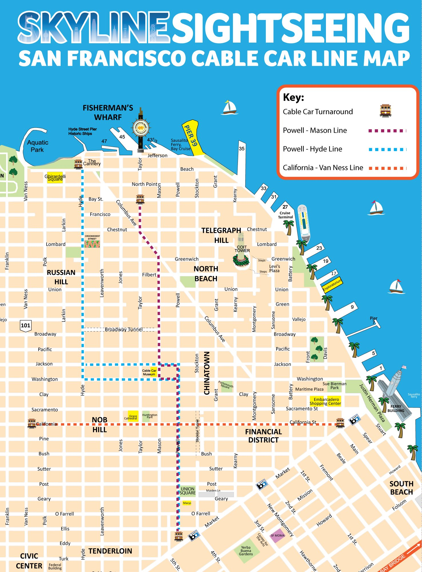 San Francisco Cable Car Line Map Skyline Sightseeing